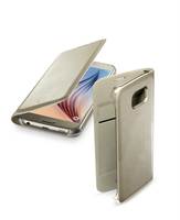 Cellularline Flip-Book - Galaxy S6 Custodia a libro ultra-slim che esalta il design Oro