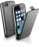 Cellularline Flap Essential - iPhone 5S/5 Custodia con apertura flap e finitura effetto pelle Nero
