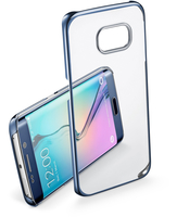 Cellularline Clear Crystal - Galaxy S6 Edge Cover rigida con eleganti finiture cromate ai bordi Blu