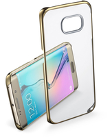 Cellularline Clear Crystal - Galaxy S6 Edge Cover rigida con eleganti finiture cromate ai bordi Oro