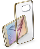 Cellularline Clear Crystal - Galaxy S6 Cover rigida con eleganti finiture cromate ai bordi Oro