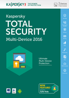 Kaspersky Lab Total Security - Multi-Device 2016 Base license 3utente(i) 1anno/i Inglese