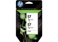 HP 57 2-pack Tri-color 17ml 500pagine Ciano, Giallo cartuccia d