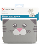 "Cellularline Animal Tab - Tablet fino a 8"" Custodie per tablet morbide, divertenti e uniche Grigio"