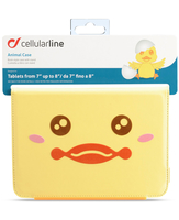 "Cellularline Animal Tab - Tablet fino a 8"" Custodie per tablet morbide, divertenti e uniche Giallo"