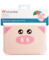 "Cellularline Animal Tab - Tablet fino a 8"" Custodie per tablet morbide, divertenti e uniche Rosa"