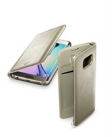 Cellularline Flip-Book - Galaxy S6 Edge Custodia a libro ultra-slim che esalta il design Oro