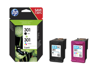HP 301 2-pack Black/Tri-color Original Ink Cartridges 3ml 3ml 190pagine 165pagine Nero, Ciano, Giallo cartuccia d