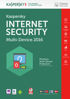 Kaspersky Lab Internet Security - Multi-Device 2016 Base license 1utente(i) 1anno/i DAN,FIN,NOR,SWE