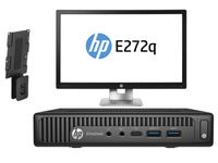 HP EliteDesk 800 65W G2 Mini + EliteDisplay E272q + PC Mounting Bracket 3.4GHz i7-6700 Scrivania Nero PC