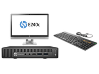 HP EliteDesk 800 35W G2 Mini + EliteDisplay E240c + Conferencing Keyboard 2.5GHz i5-6500T Scrivania Nero PC