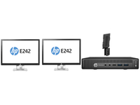 HP EliteDesk 800 65W G2 Mini + 2x EliteDisplay E242 + PC Mounting Bracket 3.4GHz i7-6700 Scrivania Nero PC