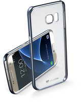 Cellularline Clear Crystal - Galaxy S7 Cover rigida con eleganti finiture cromate ai bordi Nero