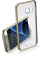 Cellularline Clear Crystal - Galaxy S7 Cover rigida con eleganti finiture cromate ai bordi Oro