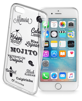 Cellularline Style Case Drink - iPhone 6S/6 Cover in gomma morbida super colorate, simpatiche e romantiche Trasparente.Nero