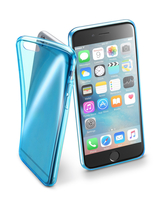 Cellularline Fluo Case - iPhone 6S/6 Custodie colorate in gomma ultrasottili e trasparenti Blu