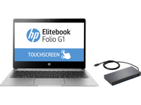 "HP EliteBook Folio G1 + Elite USB-C Docking Station 1.2GHz m7-6Y75 12.5"" 3840 x 2160Pixel Touch screen Argento Computer portatile"