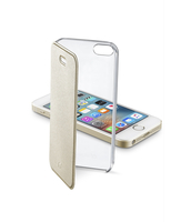 Cellularline Clear Book - iPhone SE/5S/5 Custodia rigida trasparente con sportellino a libro Oro