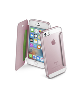Cellularline Clear Book - iPhone SE/5S/5 Custodia rigida trasparente con sportellino a libro Rosa