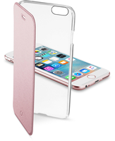 Cellularline Clear Book - iPhone 6S/6 Custodia a libro rigida con back trasparente e sportellino colorato Rosa