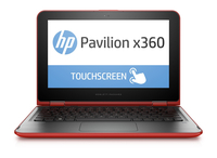 "HP Pavilion x360 11-k128ca 1.6GHz N3700 11.6"" 1366 x 768Pixel Touch screen Nero, Rosso Ibrido (2 in 1)"