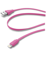 Cellularline USB Data Cable Color - Lightning Cavo dati colorato e in materiale antigroviglio Rosa