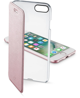 Cellularline Clear Book - iPhone 7 Custodia a libro rigida con back trasparente e sportellino colorato Rosa