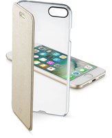 Cellularline Clear Book - iPhone 7 Custodia a libro rigida con back trasparente e sportellino colorato Oro