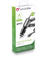 Cellularline Adaptive Fast Car Charger - Samsung with Adaptive Technology Caricabatterie veloce a 15W con cavo allungabile Nero