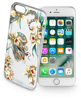 Cellularline Style case Dragon - iPhone 7 Cover in gomma morbida super colorate, simpatiche e romantiche Trasparente.Oro.Azzurro