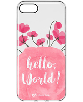 Cellularline Style Case Bloom - iPhone 7 Cover in gomma morbida super colorate, simpatiche e romantiche Trasparente.Rosa