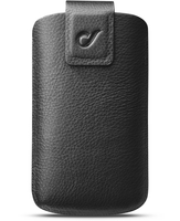 Cellularline First Class - Universale Custodia sleeve in vera pelle con finiture eleganti Nero