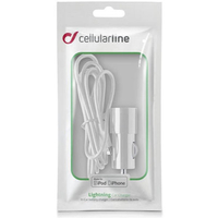 CARICABATTERIA DA AUTO PER APPLE IPHONE 5 PLUG IN USB CON CAVO CELLULAR LINE CLBCBRMFIIPH5W WHITE