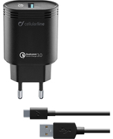 Cellularline USB Charger Kit QC - Type-C, Nero