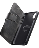 Cellularline Supreme - iPhone X Custodia a libro con tasche in vera pelle Nero