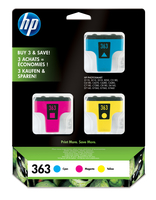 HP 363 3-pack Cyan/Magenta/Yellow Ink Cartridges Ciano, Giallo cartuccia d