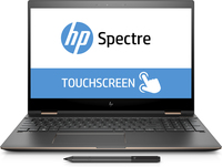 "HP Spectre x360 15-ch001ng 1.8GHz i7-8550U 15.6"" 3840 x 2160Pixel Touch screen Nero, Argento Ibrido (2 in 1)"