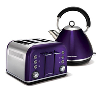 Morphy Richards Plum Accents Traditional Pyramid Kettle and 4 Slice Toaster Set