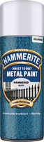 Hammerite Direct To Rust Metal Paint Aerosol Hammered Finish Argento 0.4L