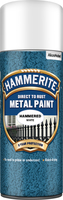 Hammerite Direct To Rust Metal Paint Aerosol Hammered Finish Bianco 0.4L