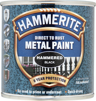 Hammerite Direct To Rust Metal Paint Hammered Finish Nero 0.25L