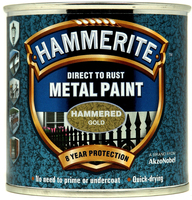 Hammerite Direct To Rust Metal Paint Hammered Finish Oro 0.25L