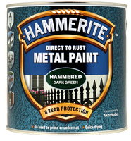 Hammerite Direct To Rust Metal Paint Hammered Finish Verde scuro 2.5L