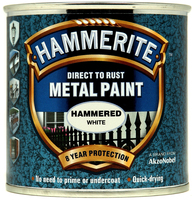 Hammerite Direct To Rust Metal Paint Hammered Finish Bianco 0.25L