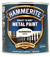 Hammerite Direct To Rust Metal Paint Hammered Finish Bianco 2.5L