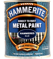 Hammerite Direct To Rust Metal Paint Hammered Finish Blu 0.75L