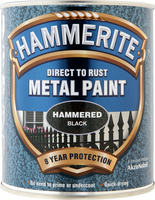 Hammerite Direct To Rust Metal Paint Hammered Finish Nero 0.75L