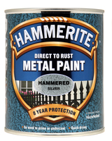 Hammerite Direct To Rust Metal Paint Hammered Finish Argento 0.75L