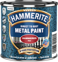 Hammerite Direct To Rust Metal Paint Hammered Finish Rosso 0.25L