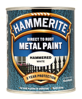 Hammerite Direct To Rust Metal Paint Hammered Finish Bianco 0.75L